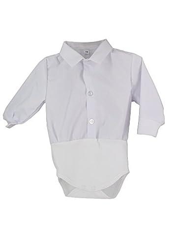 Chemise bébé body avec manches longues - Blanc - 12 mois - PRODUIT STOCKÉ ET EXPÉDIÉ RAPIDEMENT DEPUIS LA FRANCE