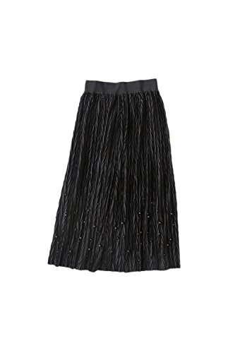 Yacun solide Basis geraffte Pleuche Frauenröcke Black