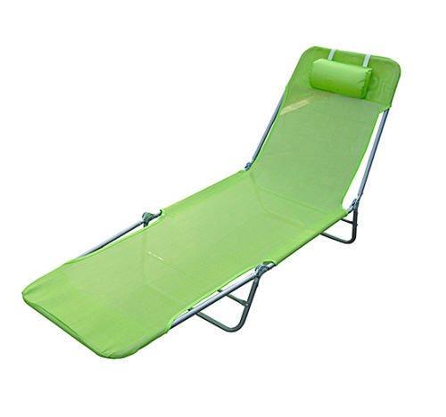 HOMCOM Outsunny Tumbona Plegable Inclinable de Acero Color Verde Plegable con Almohada Playa Piscina