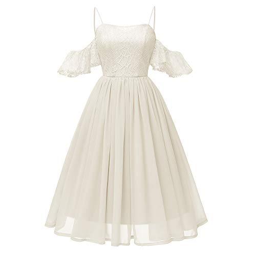 MIRRAY Damen All Seasons Vintage Prinzessin Blumenspitze Cocktail O-Ausschnitt Party Aline Swing Kleid Kleidung