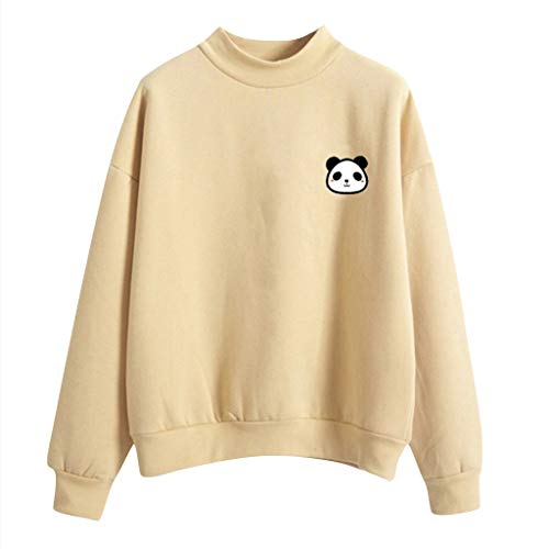 Frauen Sweatshirt, Damen O-Ausschnitt Einfarbig Hoodie Sweatshirt Panda Muster Langarm Shirt Plus Samt Sweatshirt Teenage Mädchen Casual...