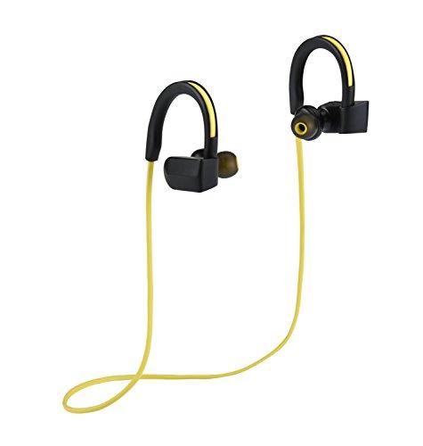 [DalTech] V4.0 + EDR Bluetooth Funk Stereo Kopfhörer, IPX4 Sweatproof, Premium Sound mit Bass, Noise Cancelling, Ergonomisches Design, Secure Fit, 6 Std. Spielzeit mit eingebautem Mic (Gelb)