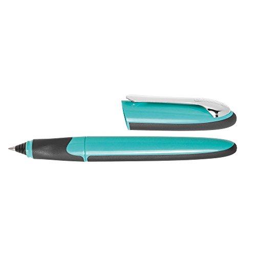 ONLINE 20088/3D - Tintenpatronen-Rollerball Air Turquoise, Dreiecksform, ergonomisches Griffstück, Magic Ball, stabiler Metall-Clip, inkl. Tintenpatrone blau, türkis/schwarz (Stifte Mit Tinte Türkis)