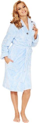 Merry Style Damen Bademantel Hausmantel mit Schalkragen Margaret Blau