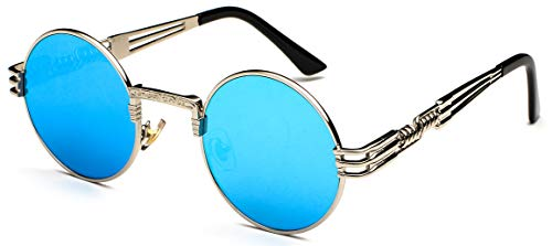 J&L GLASSES Retro Klassisches Sonnenbrillen Brille mit Fensterglas Damen Herren Brillenfassung UV-Schutz, Sonnenbrillen Unisex Modische Fahrer für, Autofahren, Outdoor Sport, Steampunk (Blue sliver)