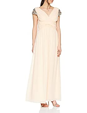 Little Mistress Nude Jewel Sleeve Maxi Dress, Vestido de Fiesta para Mujer