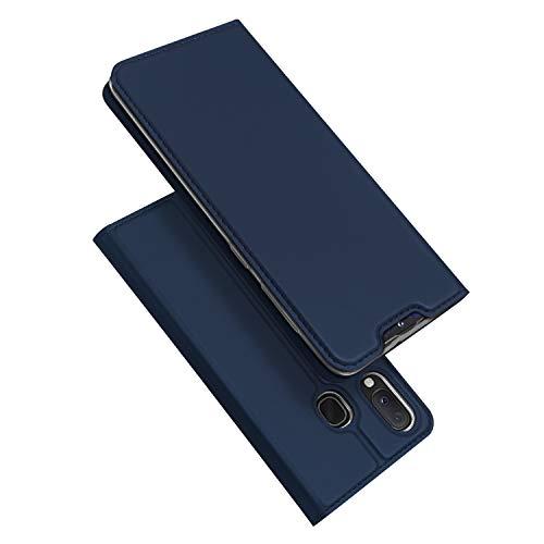 DUX DUCIS Hülle für Samsung Galaxy A20e, Leder Flip Handyhülle Schutzhülle Tasche Case mit [Kartenfach] [Standfunktion] [Magnetverschluss] für Samsung Galaxy A20e (Blau)