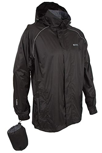 Mountain Warehouse Pakka Mens Waterproof Packable Jacket - Foldaway Hood Rain Jacket, Pack Away Mens Coat, Lightweight Raincoat - for Travelling, Outdoor, Camping Black Medium