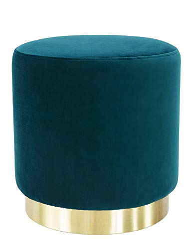 Suhu Hocker Samt Schminktisch Pouf Hocker Sitzhocker Sofa Puff Couch Hocker Samtstoff Fußbank Rund Gold Couchtisch Polsterhocker aus Metall Grün