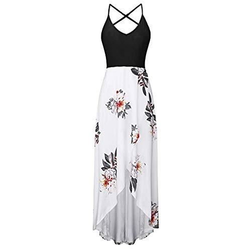 VECOLE Damenoberteile Sommer Mode Lässig Sexy Ärmellos Open Back Rundhals Print Langes Kleid Rock Kleiden(Weiß,XL) Womens Brown Tweed