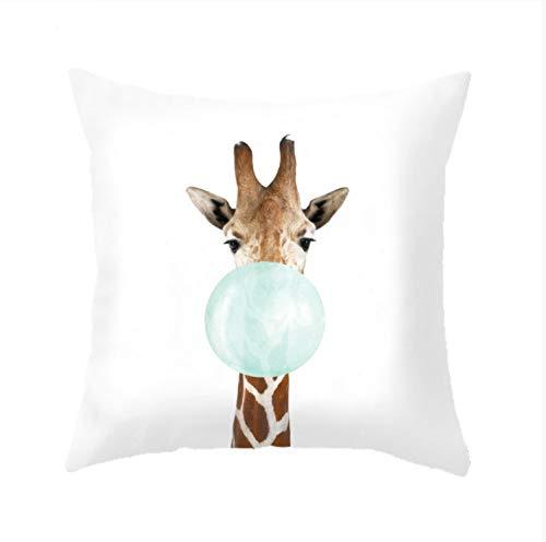 HLZLA Tierkissen African Print Dekorative Sofakissen Giraffe Zebra Panda Kaninchen Koala Blase Grün Und Rosa Kissen Niedlich4 (Und Bettwäsche Rosa Zebra-print)