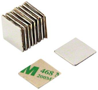 first4magnets F350SA-10 N42 - Juego de 10 imanes de neodimio (adhesivos, 15 x 15 x 1 mm, con fuerza de sujeción de 1,2 kg)