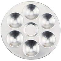 Delicacydex Compartimientos Separados de Aluminio Paleta de Mezcla de Acuarela Mezclador de Color Cerámica Arcilla Herramientas para Colorear para Arcilla polimérica - Plata