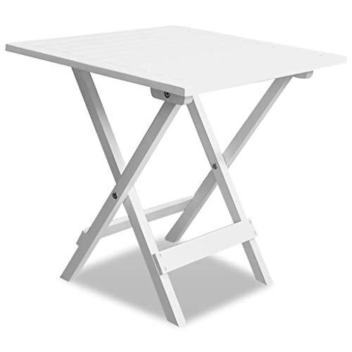 Zora Walter Garden Table d'appoint Pliante en Bois d'acacia Square Dining Room Table Table Console de Bureau avec Plateau de 46 x 46 x 47 cm