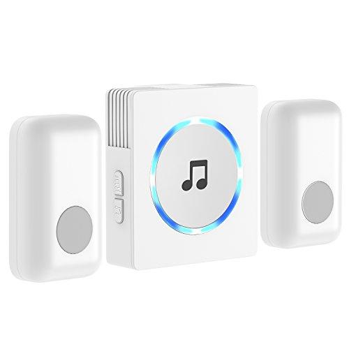 Campanello Senza Fili, JETech 2-Trasmettitori Funk Kit Campanello Plug-In Pulsante con Indicatore LED, EU Version Portatili (Bianco) - 2121C