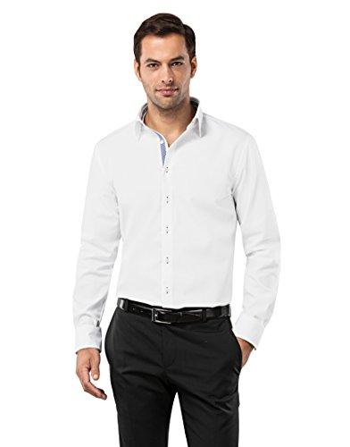 Vincenzo Boretti Herren-Hemd Bügelfrei 100% Baumwolle Regular-Fit Uni-Farben New-Kent Kragen - Männer Lang-Arm Hemden für Anzug mit Krawatte Business Hochzeit Freizeit Weiß/Blau 45/46 (Anzug Button-down-hemd,)
