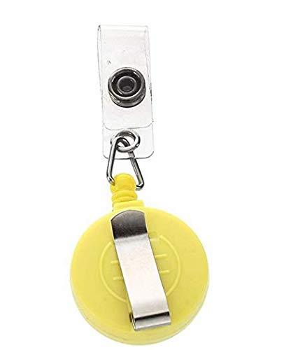 Recoil - Llavero retráctil con clip para cinturón de seguridad, soporte para tarjeta de identificación, pases de esquí, color amarillo