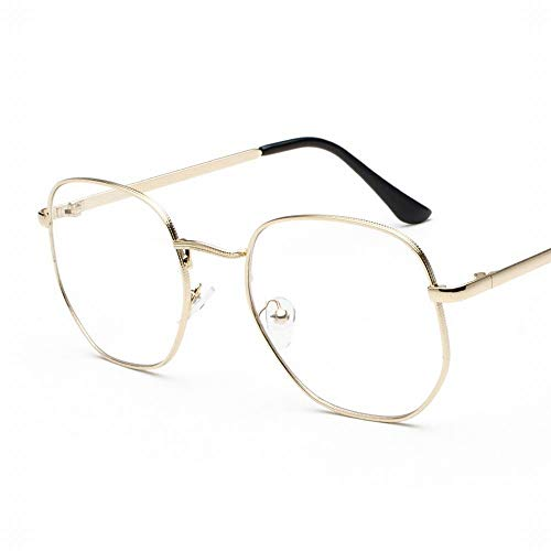 Cvthfyky Metalllegierung Rahmen Brillengestell Vintage Square Clear Lens Glasses (Farbe : Gold)