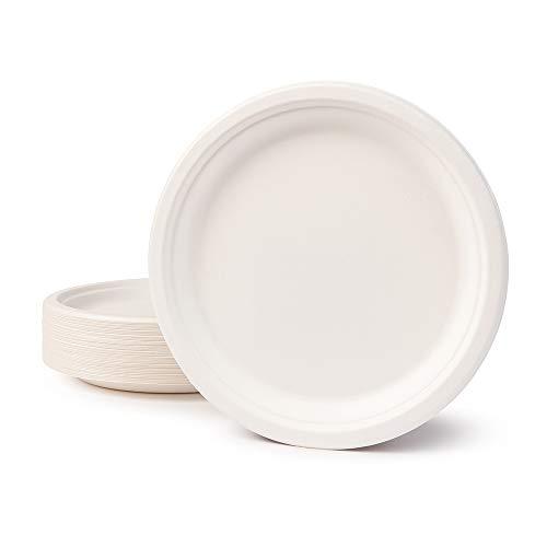 BIOZOYG Vaisselle à Base Bagasse I 50 pièces d'assiettes du Canne de Sucre Blanche Ronds décolorée 26 cm I Bio jetable Vaisselle, Menu Plats et jetable fête Assiette