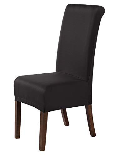 SCHEFFLER-Home Marie 2er Pack Stuhlhussen Stretch, Stuhlabdeckung elastisch, Husse Spannbezug mit Fleckschutz, schwarz