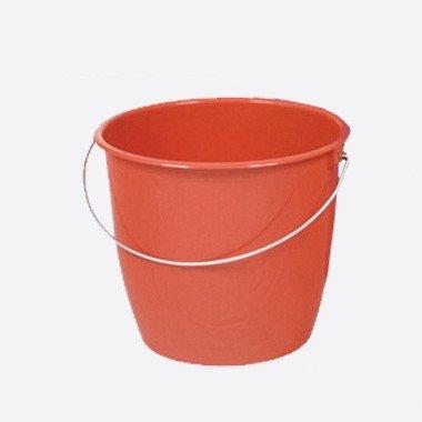 TEKO Kunststoff Haushalt Eimer mit Metall Halterung, Rot, 30x 22,5x 21,5cm