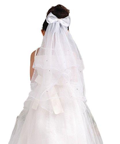 CoCogirls Mädchen Hochzeit Kommunion Schleier Tiara Haar Schleife Haarblumen Haar Blume Mädchen Schleier Blumenmädchen Veil (One-size, White)
