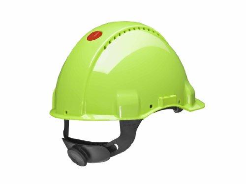 3M Peltor Schutzhelm G3000, G30NUV, mit 3M Uvicator Sensor, ABS, mit Schweißband und Ratschensystem, belüftet, neongrün