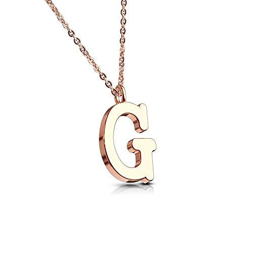 Bungsa Buchstabe G Kette Rosegold - Buchstaben-ANHÄNGER G Halskette in Rosegold - Alphabet Kette Rosé - aus Edelstahl - Schmuck für Damen, Kinder & Herren - Magnetische Anhänger