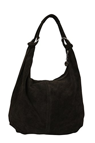 AMBRA Moda Damen Wildleder Schultertasch Damen Handtasche Hobo-Bags Shopper Beuteltaschen Veloursleder Suede Ledertasche DIN-A4 42cm x 35cmx 4cm WL803 (Schwarz)