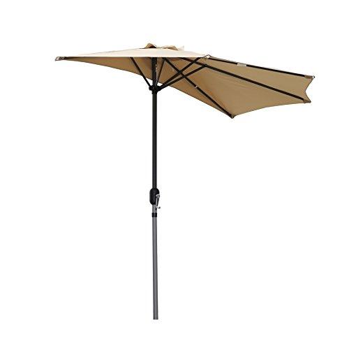 Angel Living 270cm Halbrund Sonnenschirm, Marktschirm,Terrassenschirm mit Kurbel für Garten,Terrassen,Höfe,Schwimmbäder,mit UV-Schutz 40+ Beige