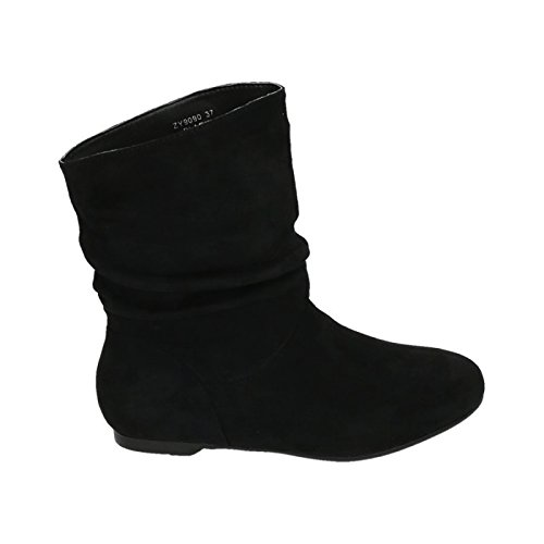 Damen Stiefeletten Stiefel Boots Flache Schlupfstiefel Schuhe 90 Schwarz