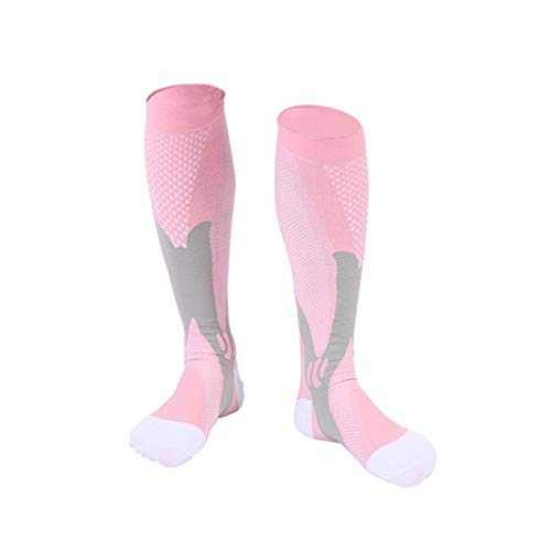 4b79dace1 Magic Compression Socks Men Women Breathable Sports Cycling Running  Stockings Soccer High Socks(Pink 2XL
