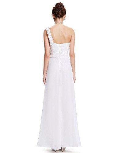 Eudolah Damen Abendkleid Herz-Ausschnitt Maxikleider Party Prom Ballkleider One-Shoulder Chiffon Orange