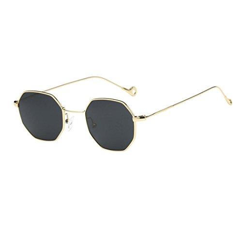 HOMEBABY - Occhiali Sole Uomo Donna Geometria - Vintage Occhiali Da Sole Rotondi Neutri Tumblr Occhiali Da Vista - Occhiali Aviatore Lenti Trasparenti Occhiali Da Vista Finti (libero, Grigio)