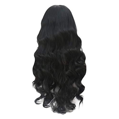 Haar Lockigem Kostüm Mit - QHJ Damen Perücke lockige Frauen Lang Haar Flauschige Schwarze Perücke mit langem lockigem Haar für Karneval oder Cosplay Party, Fasching Kostüm (Schwarz)