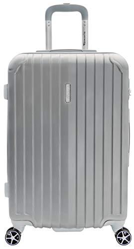 Tamaris Style Hartschalen Koffer, 4 Rollen Reisekoffer für Damen/Herren mit Zahlenschloss, 67,5x44,5x26 – 60L, Silber