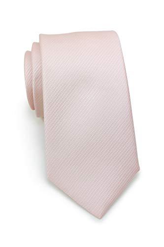 Puccini Schmale Krawatte mit feiner Linien-Struktur, einfarbig, 27 verschiedene Farben, Mikrofaser, Handarbeit, 7 cm Slim Tie (Hellrosa (Blush)) -