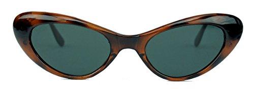Retro Sonnenbrille für Damen im 50er 60er Jahre Cat Eye Stil KE3 (Braun)