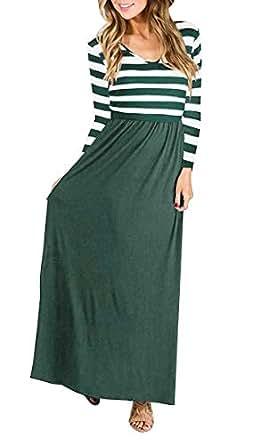 Quceyu Damen Langarm Kleid Patchwork Streifen Rundhals Lange Kleid Elegant Maxikleid (Grün, Small)