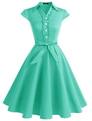 WedTrend Damen 50er Retro Herzform Knopf Rockabilly Kleid Kurzer Ärmel A-Linie Kleider WTP10007 TiffanyBlue L