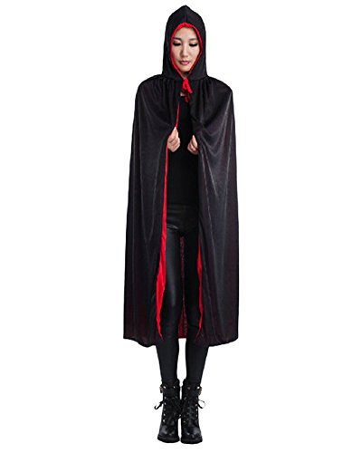 Vampir Umhang Wendeumhang mit Kapuze Cape für Erwachsene Halloween Kostüm Kapuzenumhang (Und Cape Schwarzes Rotes)