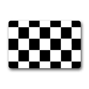 Black White Checkered Funny Words Custom Non-Slip Doormats Area Rug Indoor/Outdoor Door Mats Home Decor 23.6(L) X 15.7(W) Inch
