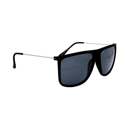 Occhiali da sole marca isurf squarest man uomo quadrato montatura in gomma opaca squadrato cool trend fashion 2016 (nero lente nera)