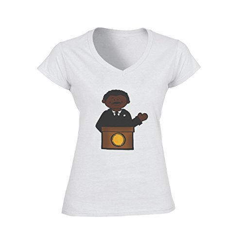 Martin L King Colorful Logo Damen V-Neck T-Shirt Weiß