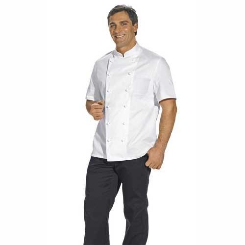 Kochjacke 1/2 Arm schwarz, weiß, bordeaux (58 (= Damengröße 52), Weiß) (Kurzarm-kochjacke)