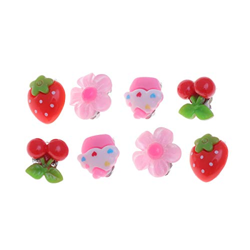 YeahiBaby 4 Paia Lovely Kids Clip-on Orecchini Girls Play Ear Clip Decorations Bomboniere
