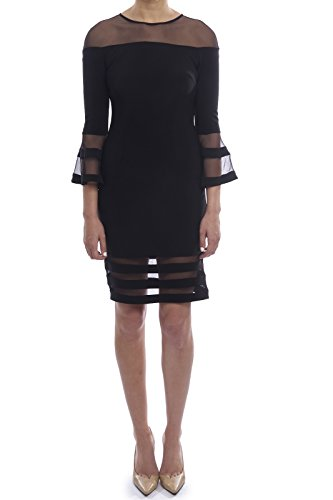 Joseph Ribkoff Bell Sleeve Dress with Sheer Cut Outs Style 183417
