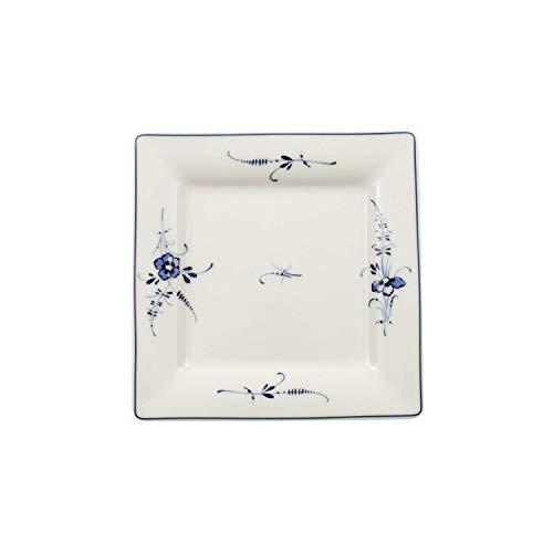Villeroy & Boch Vieux Luxembourg Kleine quadratische Untertasse, 16 cm, Premium Porzellan, Weiß/Blau - Quadratische China Weiße Teller,