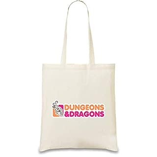 Dungeons And Dragons Custom Printed Tote Bag| 100% Soft Cotton| Natural Color & Eco-Friendly| Unique, Re-Usable & Stylish Handbag For Every Day Use| Custom Shoulder Bags By Josh God Apparel