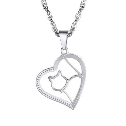 PROSTEEL Anhänger Halskette, süße Katze in Herz Charm Anhänger mit Singapurkette, Edelstahl Schmuck Valentinstag Geschenk für Frauen Freundin Mädchen, silberfarbig
